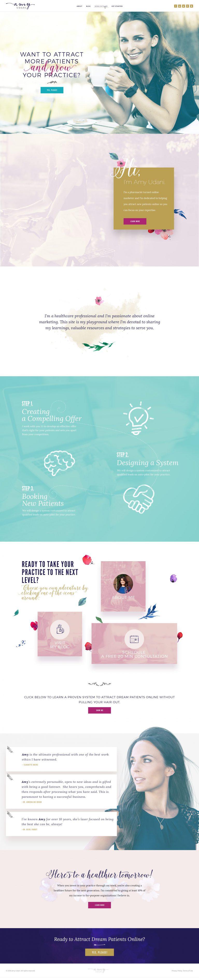 Version 1 of a website design for a female entrepreneur