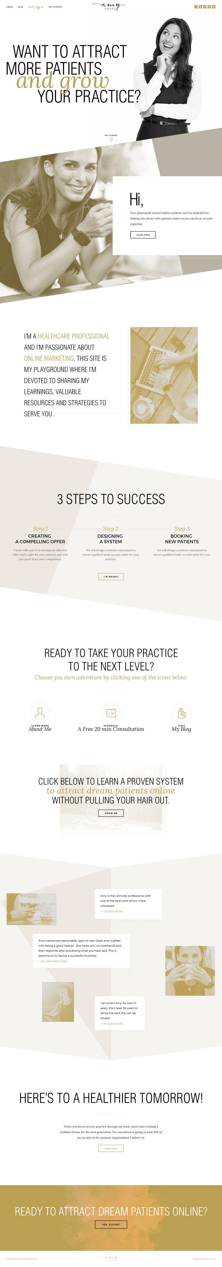 Version 2 of a website design for a female entrepreneur