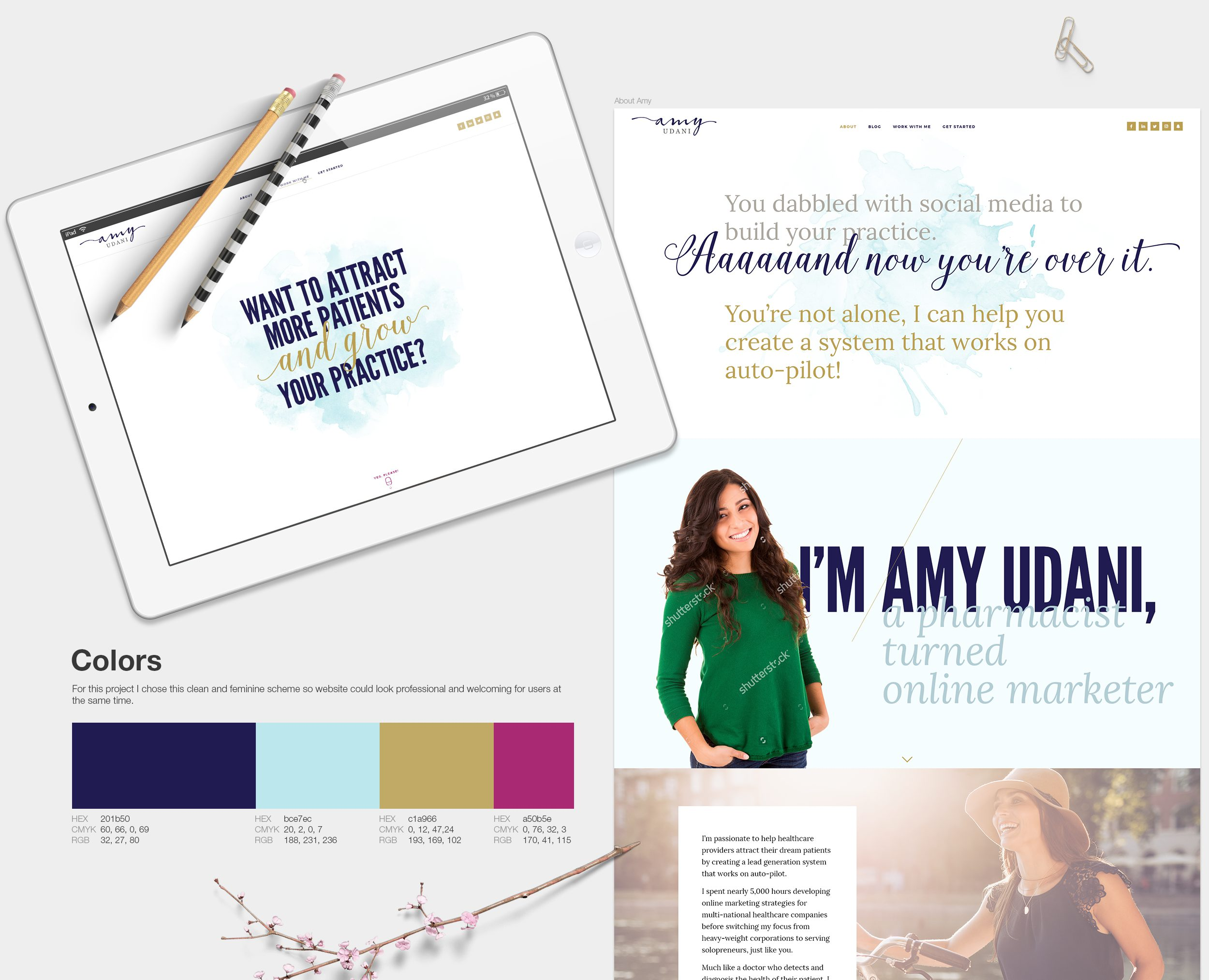 Visual identity elements for a female entrepreneur