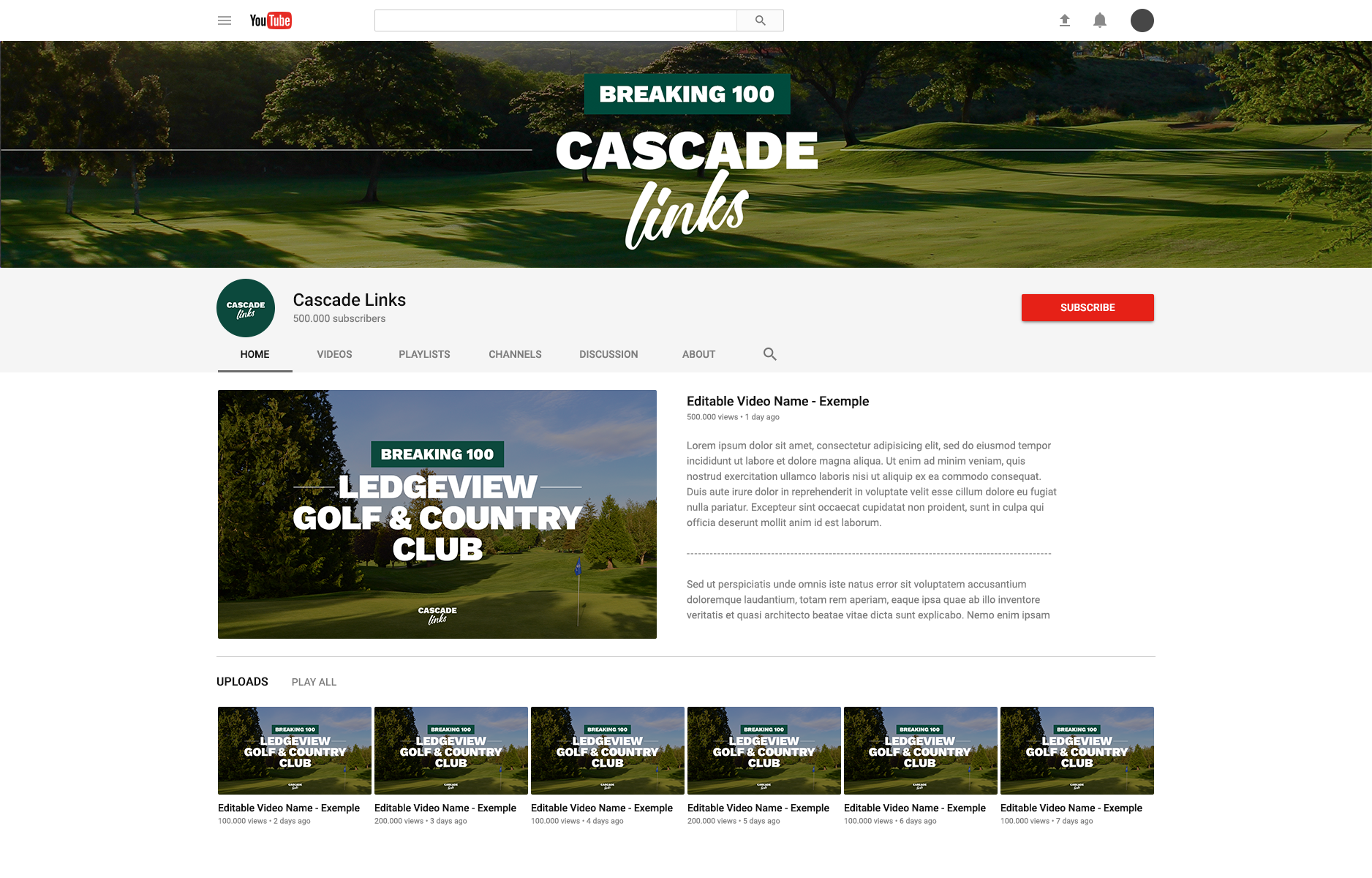 Mockup of a visual identity for a YouTube channel