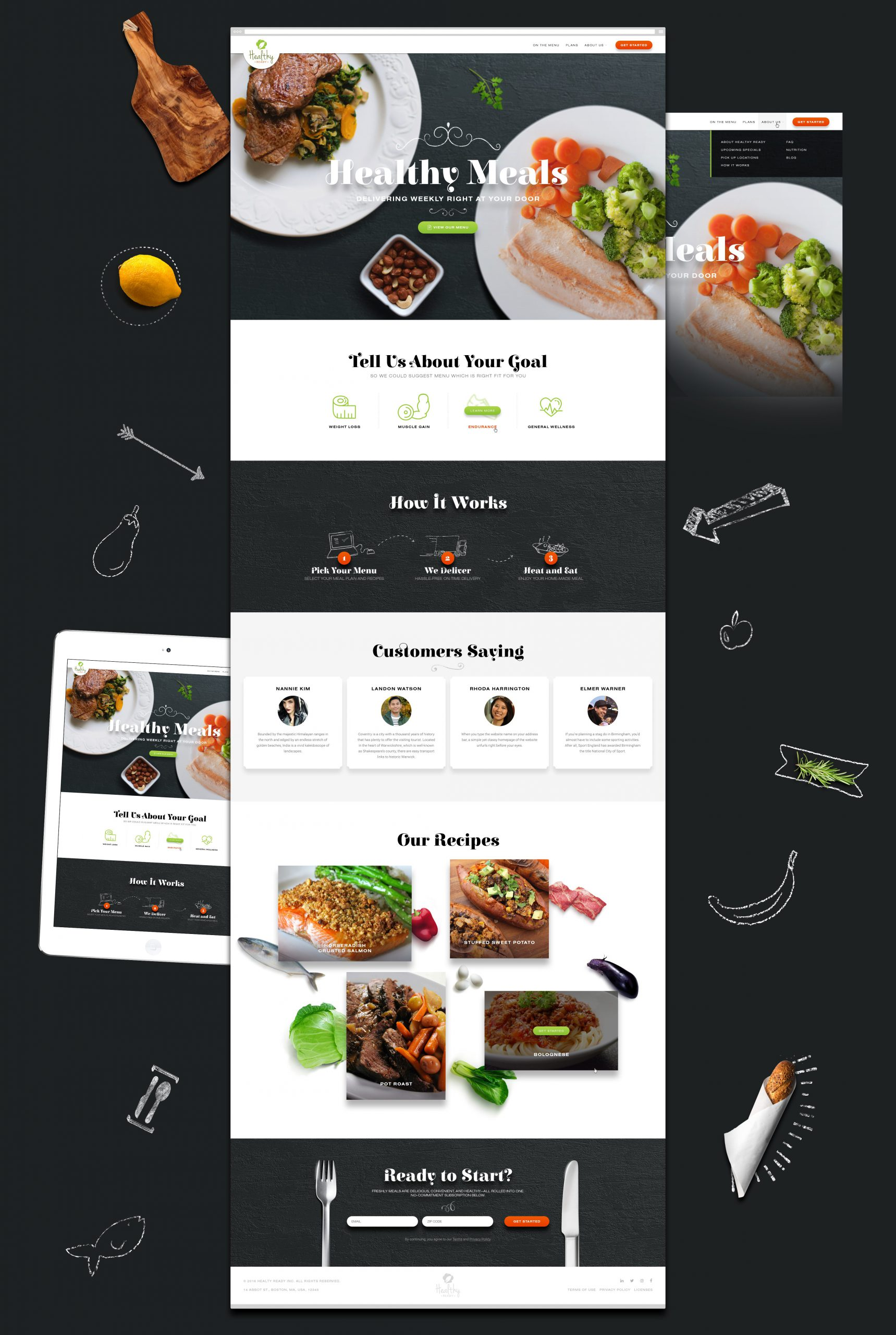 Homepage design for a healthy meals brand