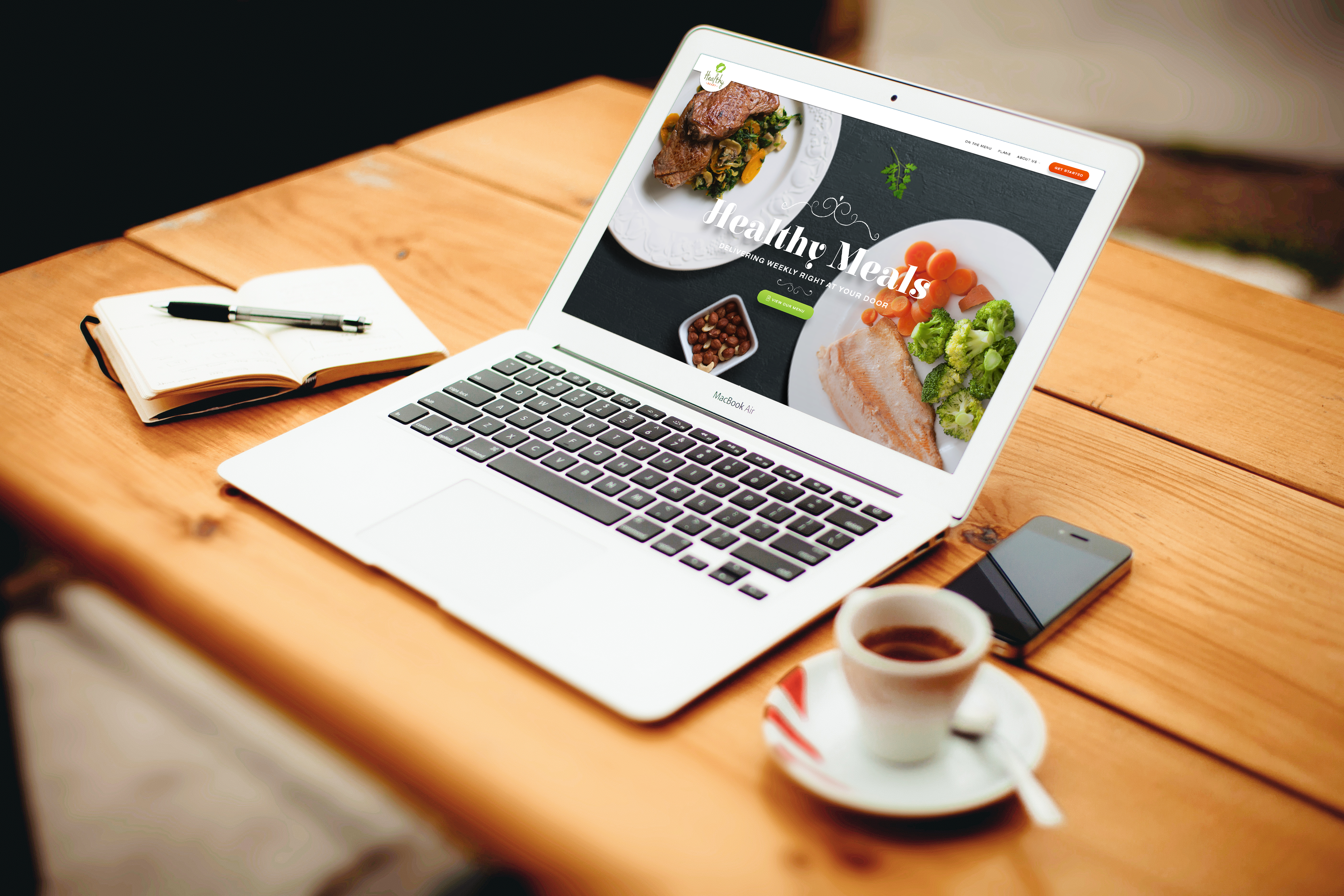 Home page for farm-to-table meal delivery service