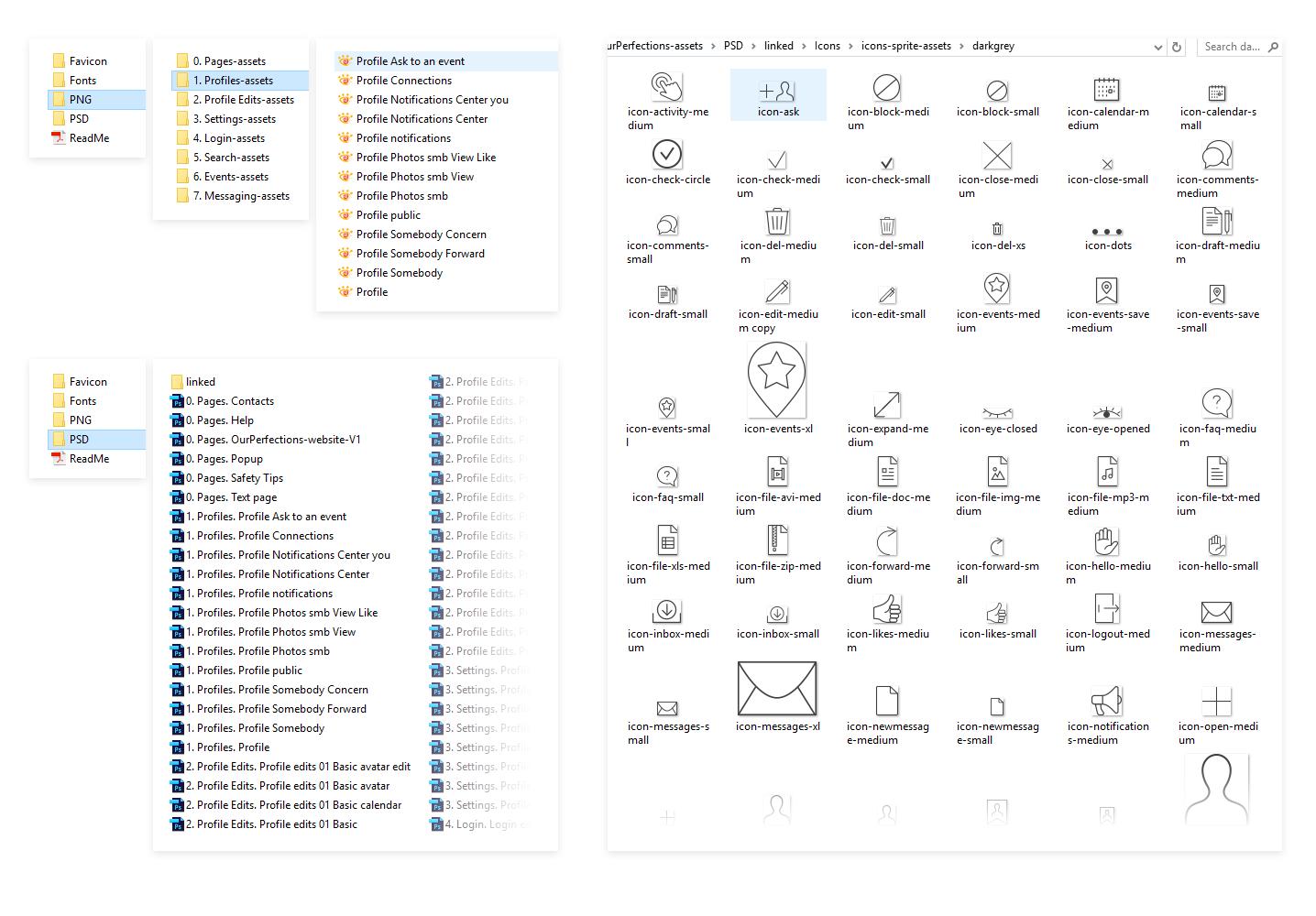 Screenshot of assets handover for developers (dating website design)