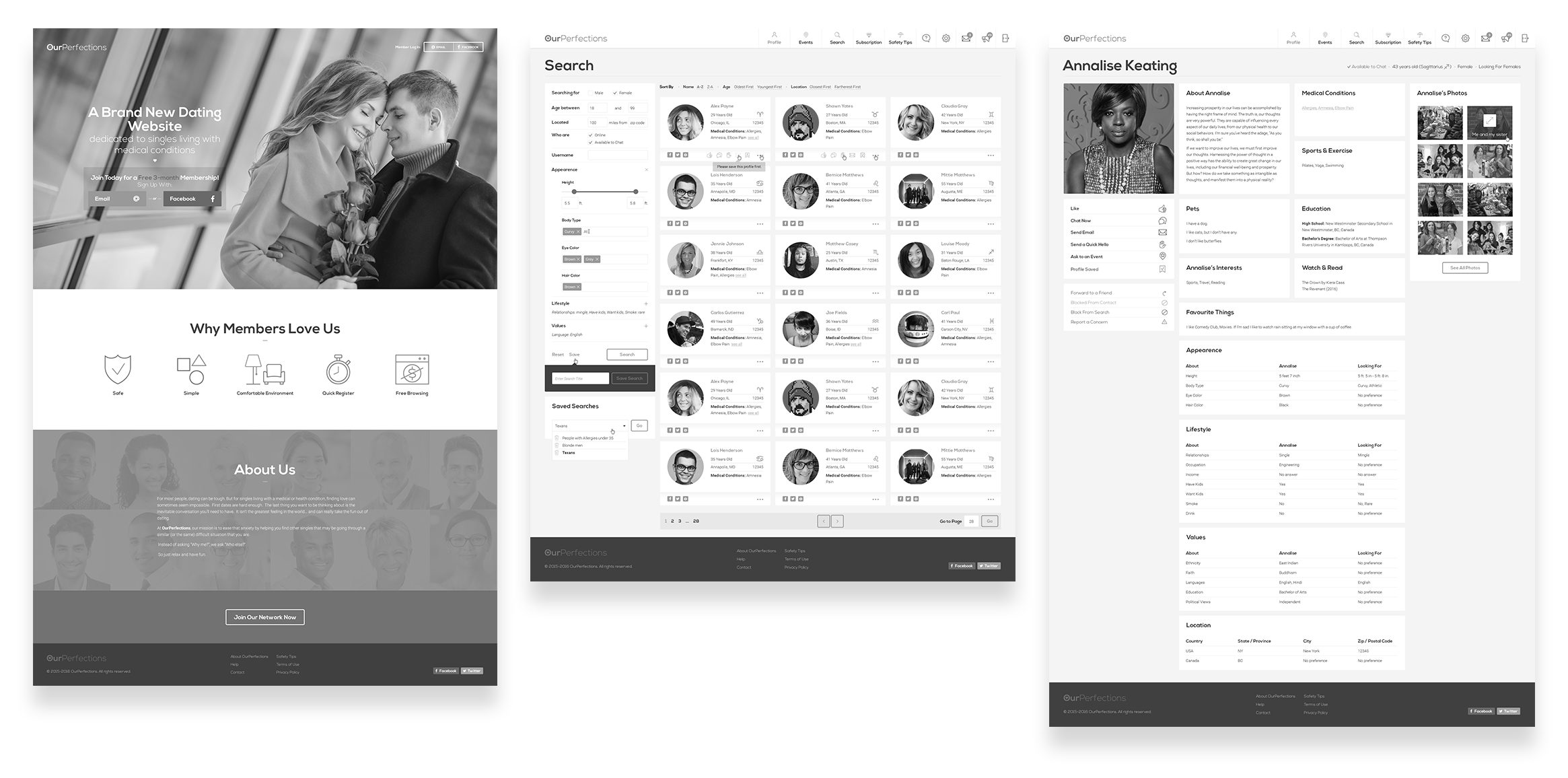 Accessibility assessment of a web interface with black and white filters