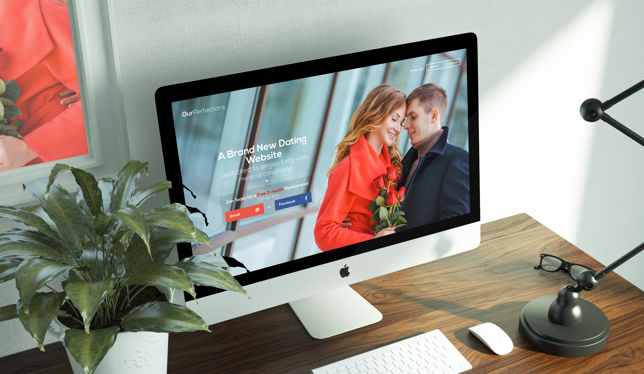 Homepage design for a dating website