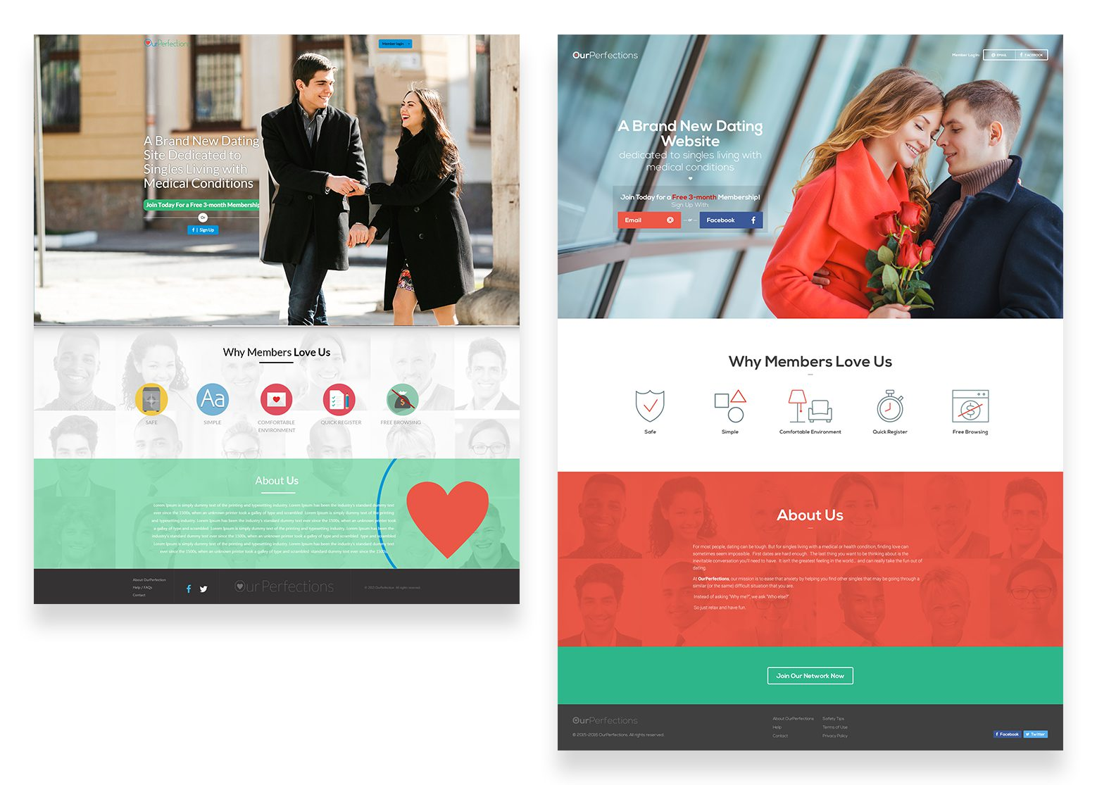 Homepage design for a dating website before and after