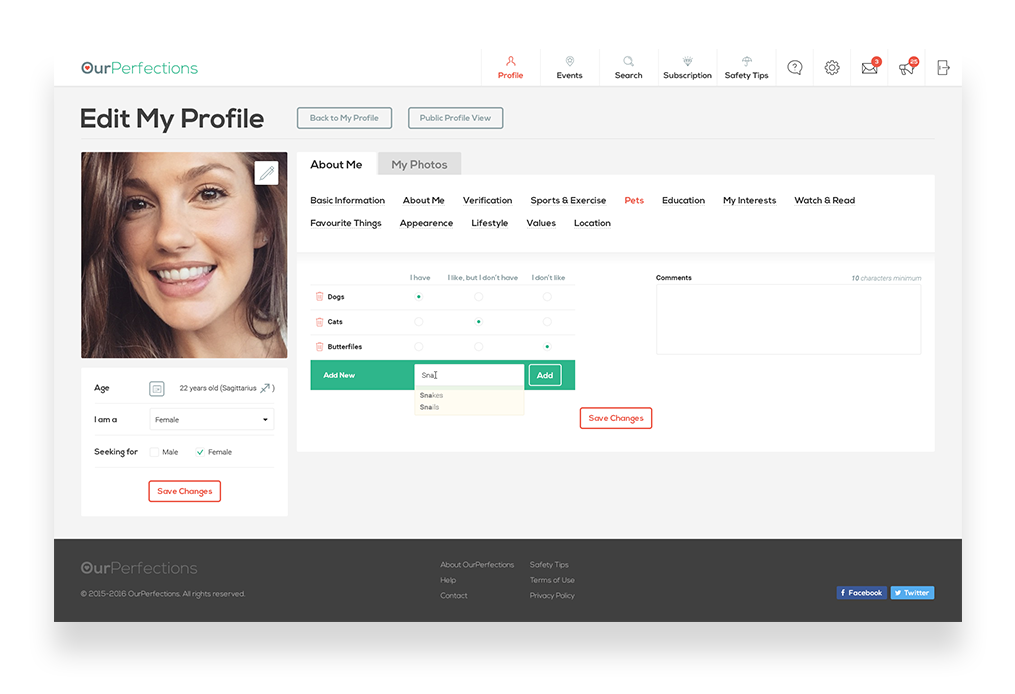 Web interface of a user profile for a dating website