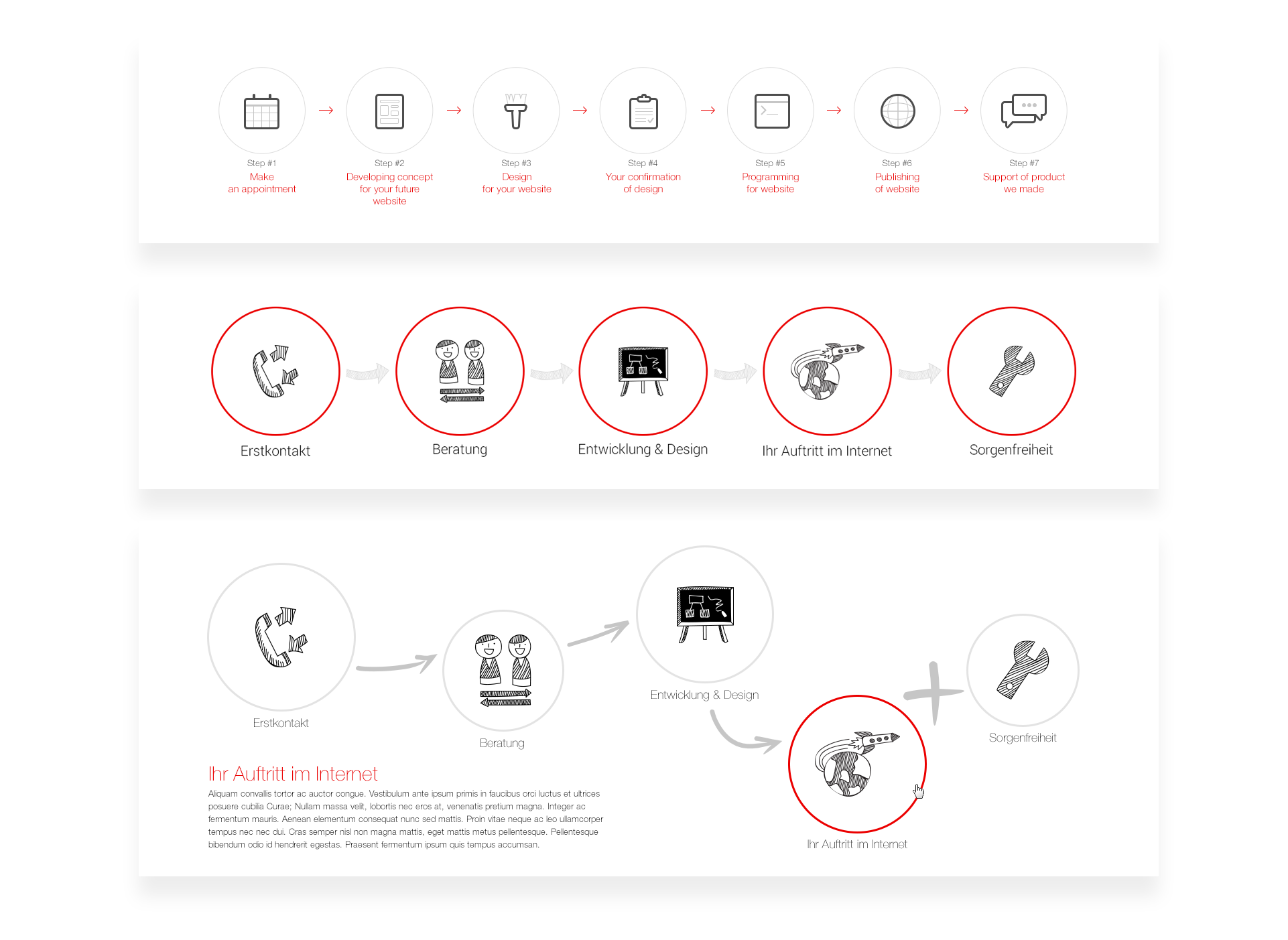 """Iterations of """"Steps"""" design element for marketing agency website"""