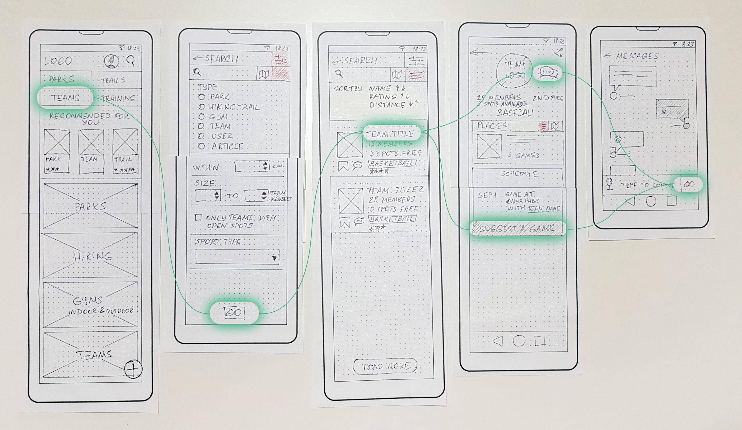 Paper prototypes for a sport app